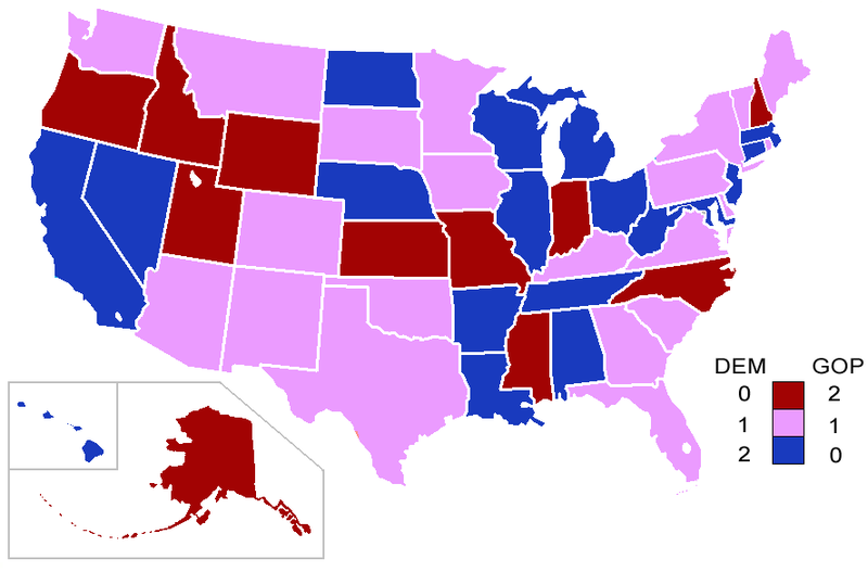 Senators' party membership by state (at the beginning of the Congress) 103rd Congress-Senate.PNG