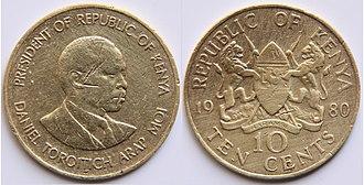 "Kenyan shilling - Obverse: Bust of Daniel arap Moi with lettering ""PRESIDENT OF REPUBLIC OF KENYA   DANIEL TOROITICH ARAP MOI""."