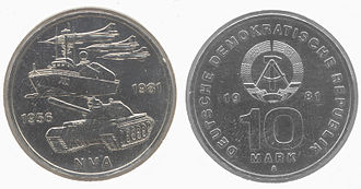 East German mark - A 10 Mark coin issued in 1981, to commemorate the 25th Anniversary of the National People's Army.