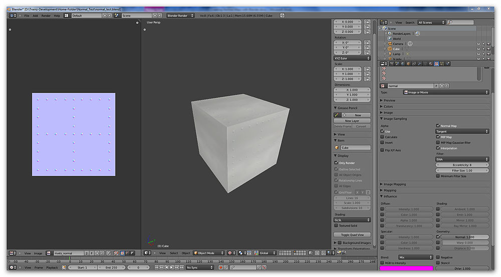 Normal map and GLSL view of cube