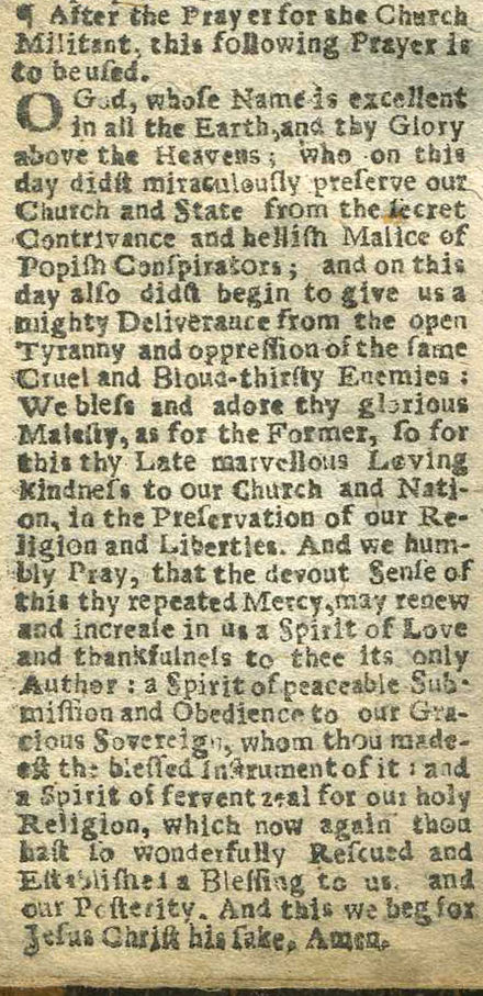 A Collect for 5 November in the Book of Common Prayer published in London in 1689, referring to the Gunpowder Plot and the arrival of William III. 1689 Prayerbook Collect for 5 November.jpg