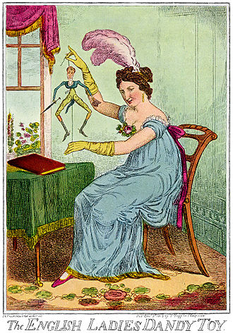 Jumping jack (toy) - Caricature of a lady with a jumping jack dressed as a dandy, 1818.