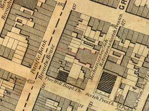 Mechanics' Hall (New York City) - Detail of 1852 New York City map showing location Mechanic's Hall. Narrow corridor provided frontage on Broadway to lot formerly occupied by New York High School