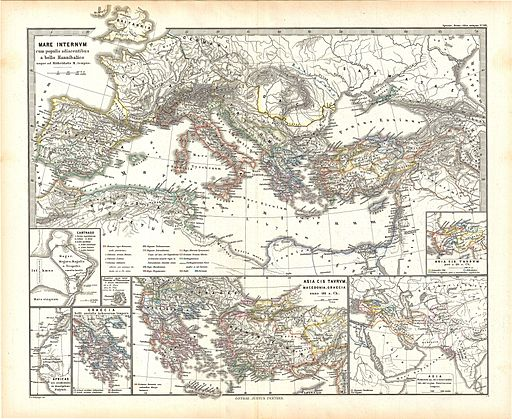 1865 Spruner Map of the Mediterranean from the Punic Wars to Mithridates the Great - Geographicus - MareInternum-spruner-1865