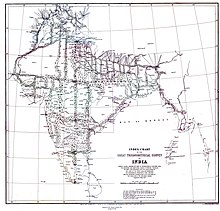 Map of triangulation network covering India.