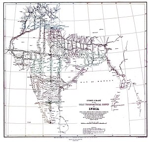 Survey of India - A map showing the triangles and transects used in the Great Trigonometrical Survey (1802-1852), produced in 1870.
