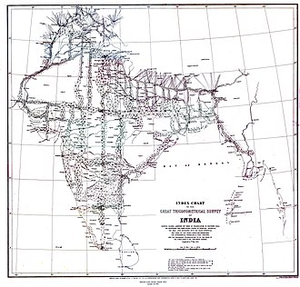 Mount Everest - Map produced in 1870 showing the triangles and transects used in the Great Trigonometric Survey of India. The Great Trigonometrical Survey of India was started in April 1802