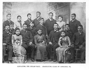 "Carlisle Indian Industrial School - Between 1899 and 1904, Carlisle issued thirty to forty-five degrees a year. ""Educating the Indian Race. Graduating Class of Carlisle, PA."" ca. 1890s"
