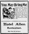 1909 - Hotel Allen Newspaper Ad Allentown PA.jpg