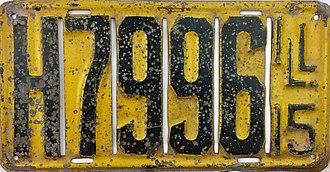 Vehicle registration plates of Illinois - Image: 1915 Illinois License Plate Front