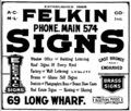 1916 Felkin advert Long Wharf Boston USA.png