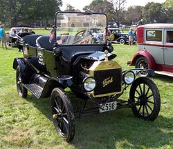 Antique cars often use a so-called thermosiphon instead of a water pump. Hence the large radiators. Image of a Ford Model T via Wikipedia