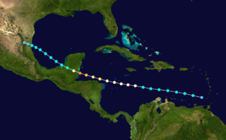 1931 Belize hurricane - Image: 1931 Atlantic hurricane 5 track