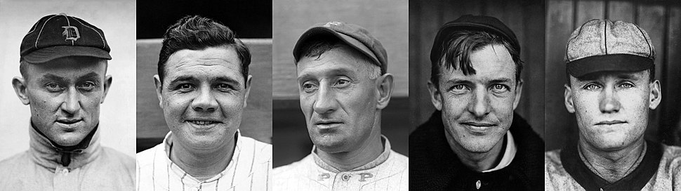 First Class of inductees L-R by votes: Ty Cobb, Babe Ruth, Honus Wagner, Christy Mathewson, Walter Johnson