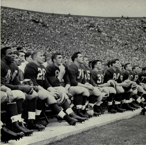 1950 Michigan Wolverines football team - Michigan players on the sidelines at Michigan Stadium, 1950