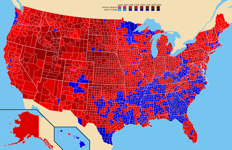 Election results by county. Ronald Reagan Jimmy Carter 1980prescountymap2.PNG