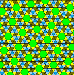 Snub trihexagonal tiling - There is one related 2-uniform tiling, which mixes the vertex configurations of the snub trihexagonal tiling, 3.3.3.3.6 and the triangular tiling, 3.3.3.3.3.3.