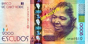 Cesária Évora - A Capeverdean $2000 escudo note featuring Cesária Évora