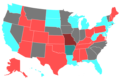 2002 United States Senate Election by Change of the Majority Political Affiliation of Each State's Delegation From the Previous Election.png