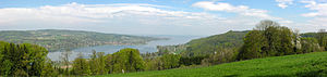 Thurgau - View of Untersee (Lake Constance) near Eschenz with the German shore beyond. Lake Constance und the river Rhine mark the northern border of the canton.