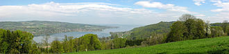 Canton of Thurgau - View of Untersee (Lake Constance) near Eschenz with the German shore beyond. Lake Constance und the river Rhine mark the northern border of the canton.