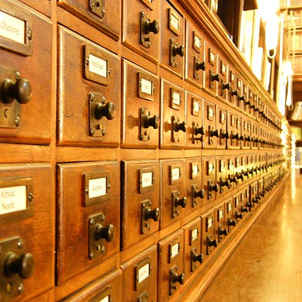 Until the advent of digital catalogues, card catalogues were the traditional method of organizing the list of resources and their location within a large library. 2009 3962573662 card catalog.jpg