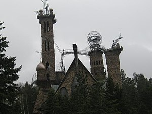 Bishop Castle - The front of the castle with view of towers.