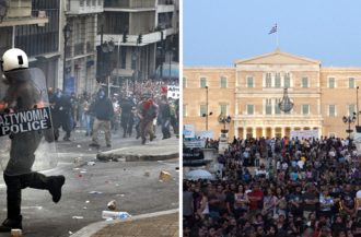 Anti-austerity movement in Greece - Image: 2010 2011 Greek protests collage
