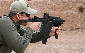 KRISS Vector - Image: 2010 SHOT Show Shooting the Kriss SMG (27547415085)