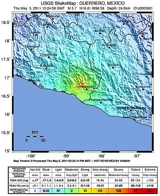 2011 Guerrero earthquake - USGS shake map