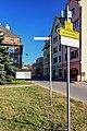 2012 Bogumin, Stary Bogumin, Znaki szlaków rowerowych na Placu Wolności.jpg