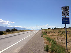 2014-08-09 11 31 40 View south along U.S. Route 93 about 26.7 miles north of the Lincoln County line near Majors Place, Nevada.JPG