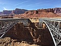 2016-03-20 14 27 51 View north across the Colorado River from the south end of the original Navajo Bridge (former U.S. Route 89A) and the new Navajo Bridge (U.S. Route 89A) in Marble Canyon, Arizona.jpg