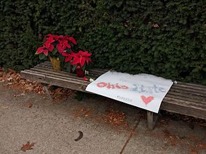 Ohio State University attack - Poinsettias and a sign left outside of Watts Hall in dedication of the attack.