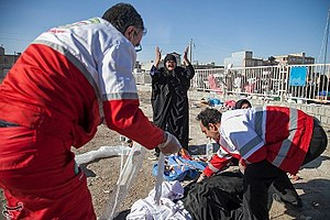 2017 Iran–Iraq earthquake - Red Cross offering help for the injured people