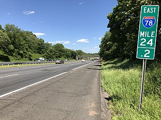 Readington Township, New Jersey - I-78 eastbound in Readington
