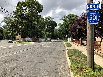 Cresskill, New Jersey - County Route 501 northbound in Cresskill