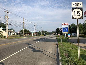 New Jersey Route 15 - View north along Route 15 and south along Route 94 in Lafayette Township