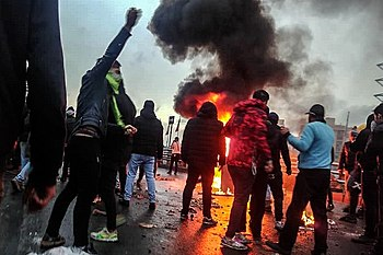 2019 Iranian fuel protests Fars News (1) (cropped).jpg