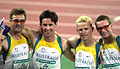 251000 - Athletics track 4x400m T46 Stephen Wilson Neil Fuller Tim Matthews Heath Francis team - 3b - 2000 Sydney portrait photo.jpg
