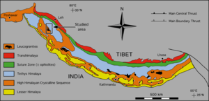 Inner Terai Valleys of Nepal - Fig 5: Geologic – Tectonic map of the Himalaya, modified after Le Fort (1988).