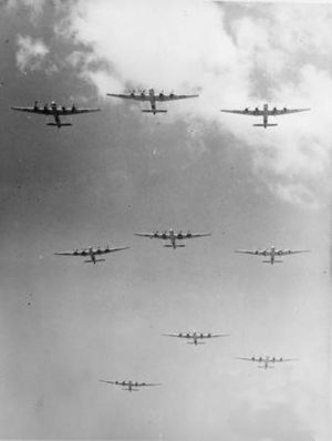 No. 6 Squadron RAAF - A formation of nine Avro Lincoln heavy bombers from No. 2 and No. 6 Squadrons flying over RAAF Base Amberley in 1953