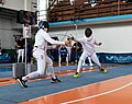 2nd Leonidas Pirgos Fencing Tournament. Lunge by Stergios Delis on the parry of Nikolaos Theodoropoulos.jpg
