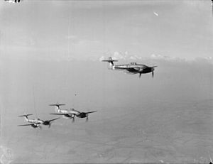 Westland Whirlwind (fighter) - Three Westland Whirlwinds of 263 Squadron in stepped line-astern formation