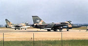 3d TFS A-7D Corsair II and 429th TFS General Dynamics F-111A on Alert Ramp