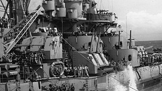 Battleship secondary armament - USS Massachusetts 5-inch secondary gun battery (note the ability to fire upward)