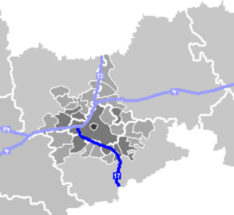 Bundesautobahn 17 - Greater Dresden, run of the A 17 highlighted