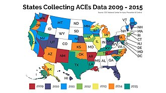 Adverse Childhood Experiences Study - State ACEs Study surveys diagram color coded from the year 2009 to 2015