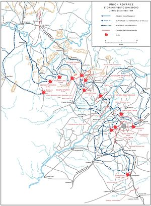 Atlanta Campaign - ATLANTA CAMPAIGN, Union advance: Etowah River to Jonesboro (May 23 – September 2, 1864).