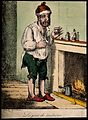 A man standing by a fireplace, pulling a peculiar face after Wellcome V0011210.jpg